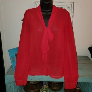 Forever 21 Red Sheer Bow Tie Neck Blouse Sz S
